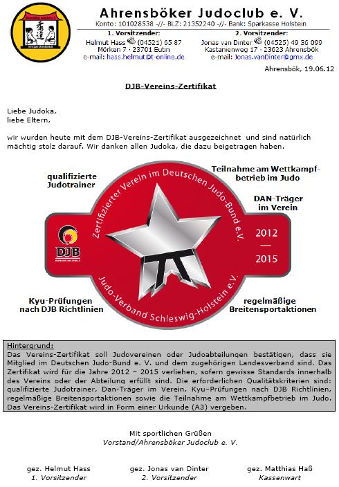 DJB-Vereins-Zertifikat (2012 - 2015)