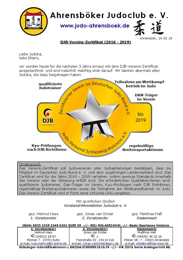 DJB-Vereins-Zertifikat (2016 - 2019)
